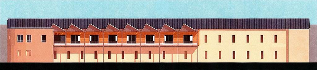 Dessin d'architecte de la résidence terminée